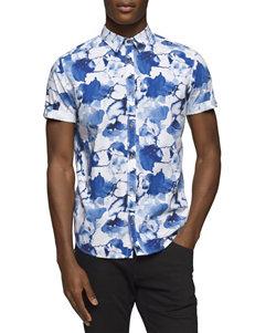 Calvin Klein Dutch Blue Casual Button Down Shirts