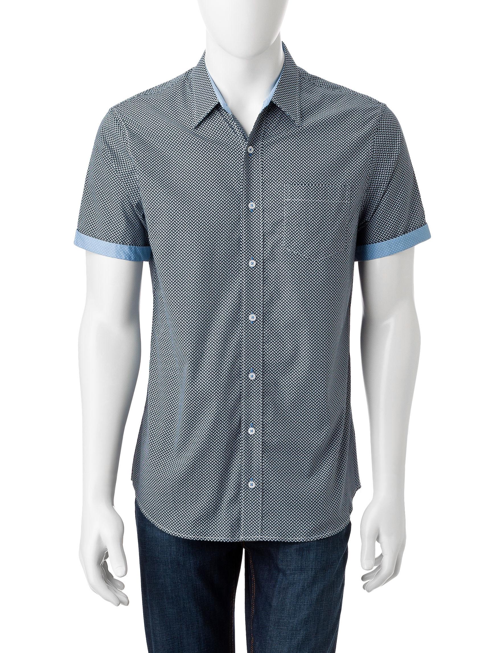 Signature Studio Blue Casual Button Down Shirts