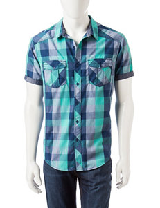 Rustic Blue Navy Casual Button Down Shirts