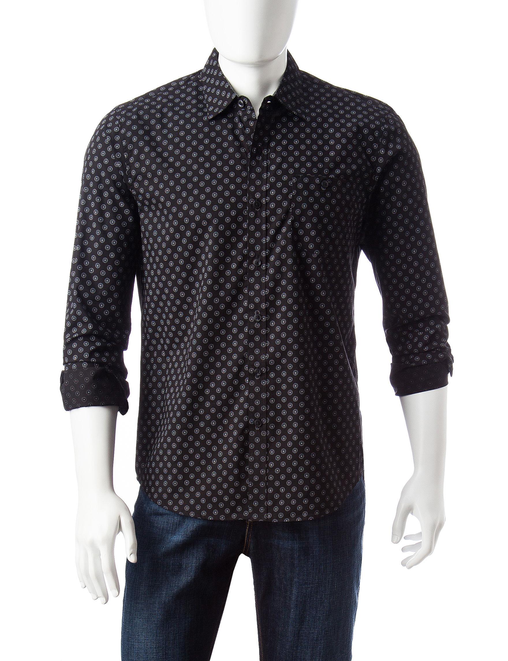 Signature Studio Black Casual Button Down Shirts