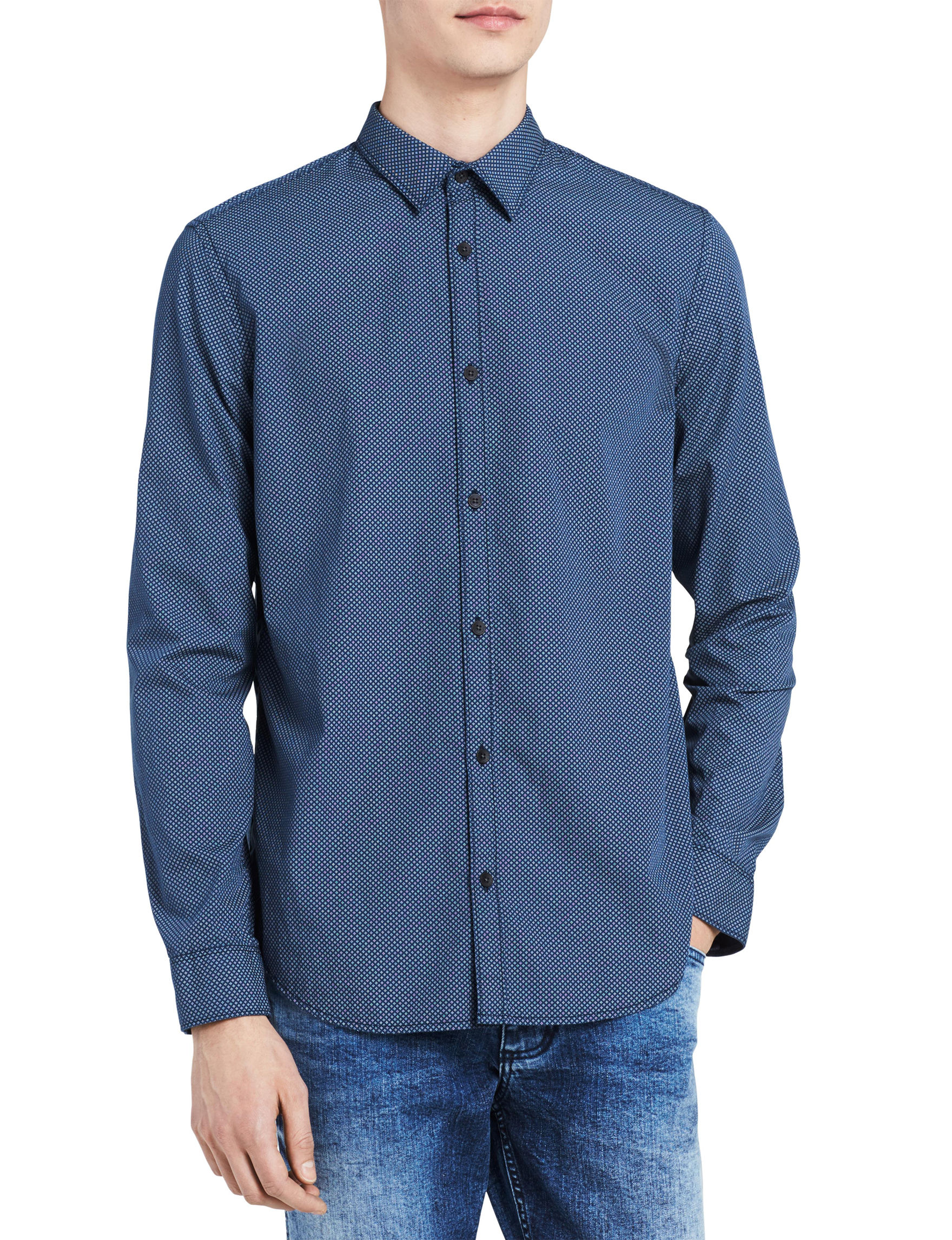 Calvin Klein Blue Casual Button Down Shirts
