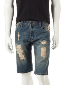 Rustic Blue Caprio Destructed Jean Shorts