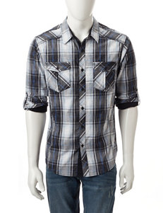 Rustic Blue Black / Blue / White Casual Button Down Shirts