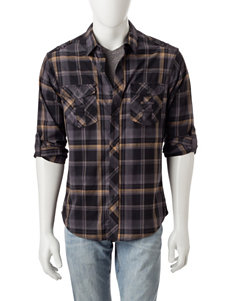 Rustic Blue Bronze Casual Button Down Shirts