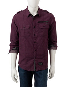 Marc Ecko Burgundy Casual Button Down Shirts