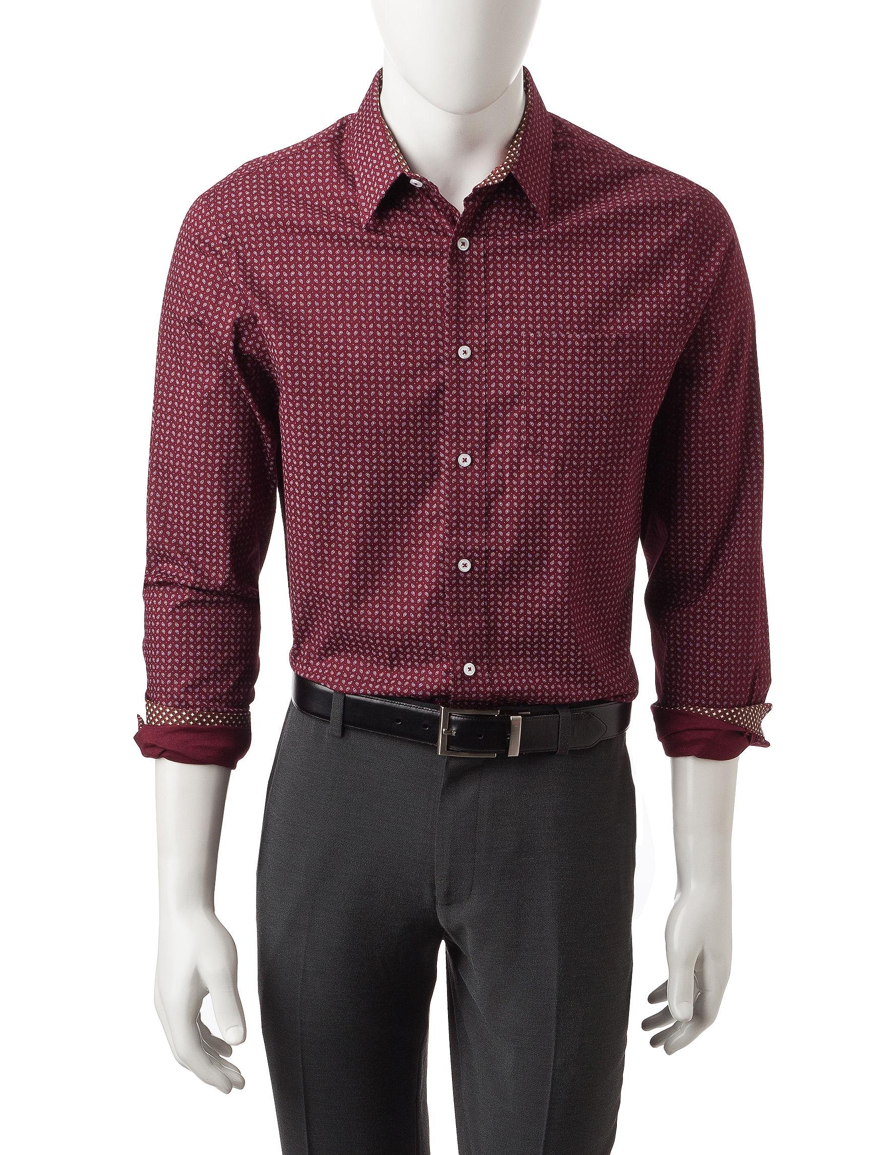 Signature Studio Burgundy Casual Button Down Shirts