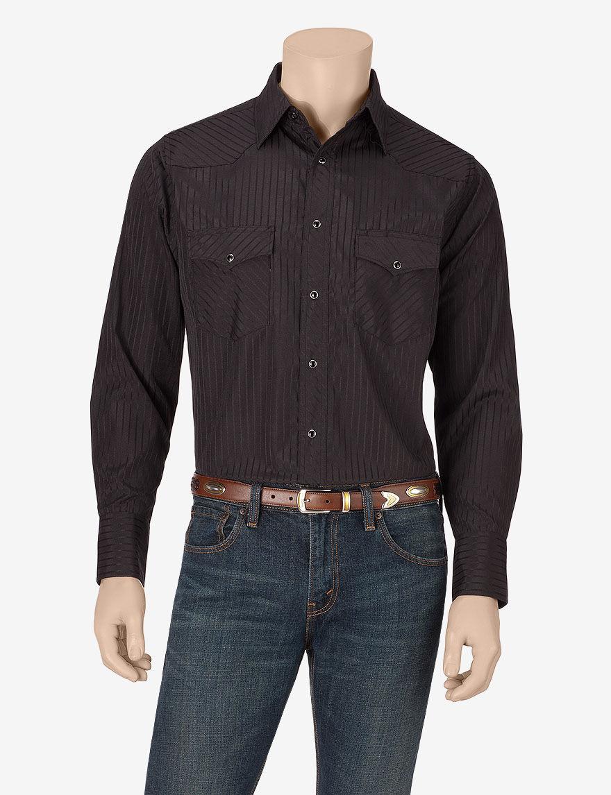 Wrangler Black Casual Button Down Shirts
