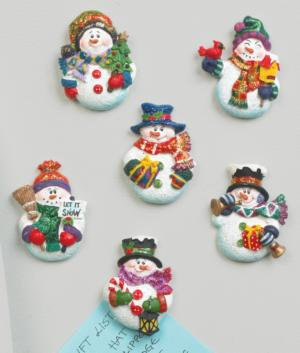 Sparkly Snowman Magnets - Set of 6
