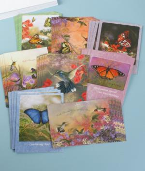 Bird and Butterfly Greeting Cards - Set of 32