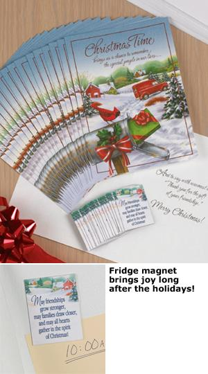 Vintage-Style Christmas Cards with Magnets Set