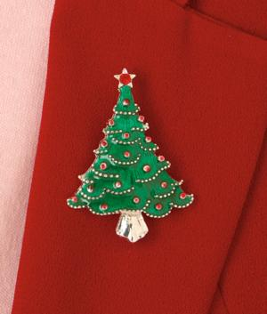 Christmas Tree Pin with Star Topper