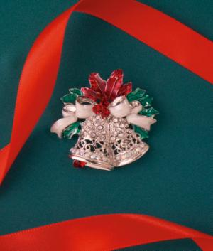 Bejeweled Christmas Bells Pin