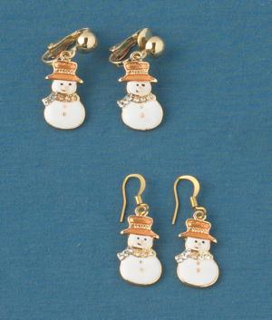 Snowman Earrings - A Pair