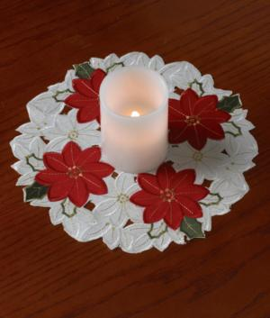 Embroidered Poinsettia Doily