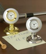 Golf Ball Desk Clock - Silvertone