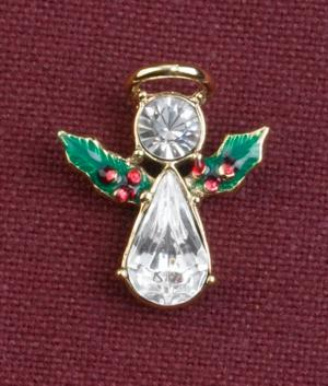 Christmas Angel Pin with Holly Wings