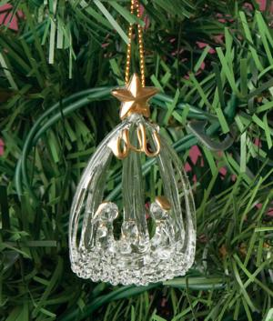 Spun Glass Nativity Ornament