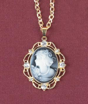 Cameo-Look Pendant with Crystal Accents