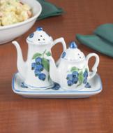Porcelain Teapot Salt and Pepper Set