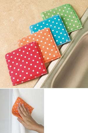 Polka-Dot Microfiber Sponges - Set of 4