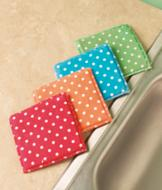 Polka-Dot Microfiber Sponges - Set of 4