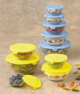 Sunflower Design Glass Bowls - 10-Pc. Set