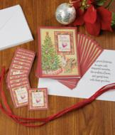 Christmas Cards with Ornament Tags - Set of 12