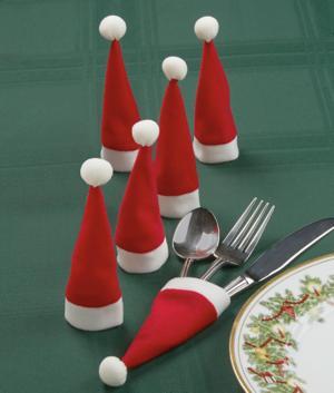 Santa Cap Silverware Holders - Set of 6