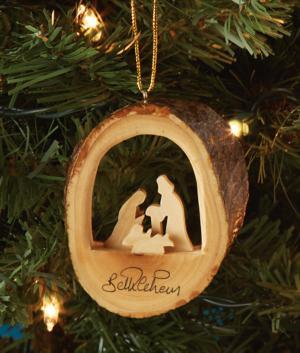 Olive Wood Keepsake Nativity Ornament