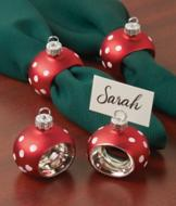 Ornament Napkin Rings/Place Card Holders - Set of 4