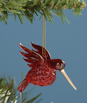 Red Spun Glass Hummingbird Ornament