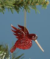 Red Spun Glass Hummingbird Ornament