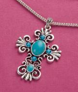 Reconstructed Turquoise Cross Pendant