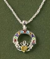 Gemstone Claddagh Pendant