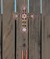 Bejeweled Cross Wind Chime