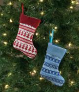 Knit Stocking Ornament - Red