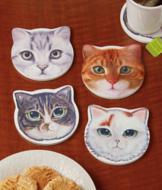 Ceramic Cat Coasters - Set of 4