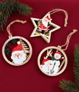 Double-Sided Wood Ornaments - Set of 3