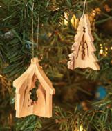 Olive Wood Ornament - Nativity Manger