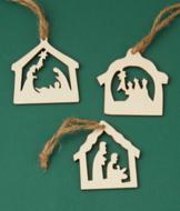 Nativity Wood Ornaments - Set of 3