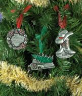 Pewter-Look Message Ornament - Truck with Tree