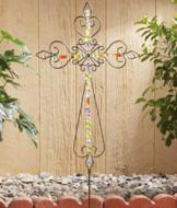Beaded Cross Garden Accent