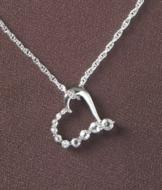 White Topaz and Diamond Heart Pendant