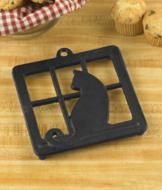 Cast Iron Cat Trivet with Rubber-Tipped Legs
