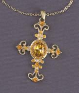 Citrine-Look Cross Pendant