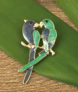 Kissing Parrots Brooch