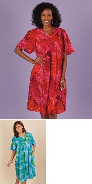 Crinkle Patio Dress - Coral-Fuchsia/Missy