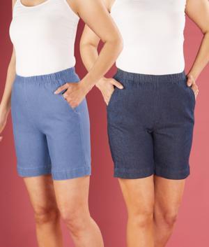 Pull-On Denim Shorts - Chambray