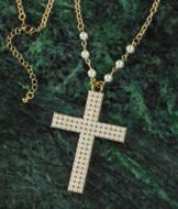 Pearl-Look Cross Necklace