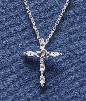 Entwined Hearts Cross Pendant